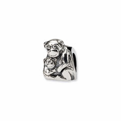 Sterling Silver Reflections Mama & Baby Monkey Bead