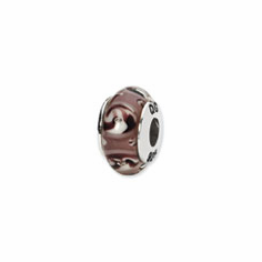 Sterling Silver Reflections Mauve Floral Hand-blown Glass Bead