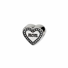 Sterling Silver Reflections Mom Heart Bead