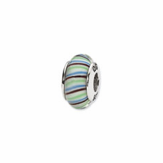 Sterling Silver Reflections Multi-color Hand-blown Glass Bead