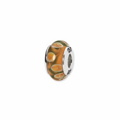 Sterling Silver Reflections Orange/Green Hand-blown Glass Bead