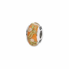 Sterling Silver Reflections Orange/White Floral Hand-blown Glass Bead
