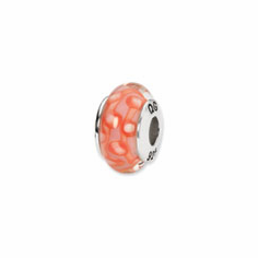 Sterling Silver Reflections Orange/White Hand-blown Glass Bead