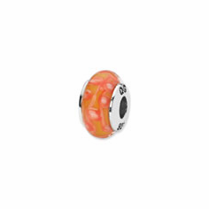 Sterling Silver Reflections Orange/White Spots Hand-blown Glass Bead