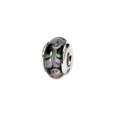 Sterling Silver Reflections Pink/Black Hand-blown Glass Bead