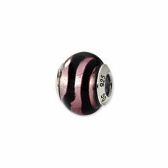 Sterling Silver Reflections Pink/Black Italian Murano Bead