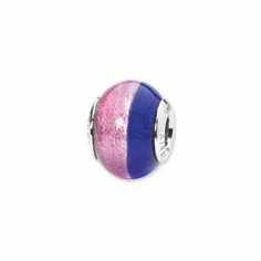 Sterling Silver Reflections Pink/Blue Italian Murano Bead