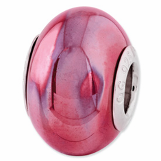 Sterling Silver Reflections Pink Ceramic Bead
