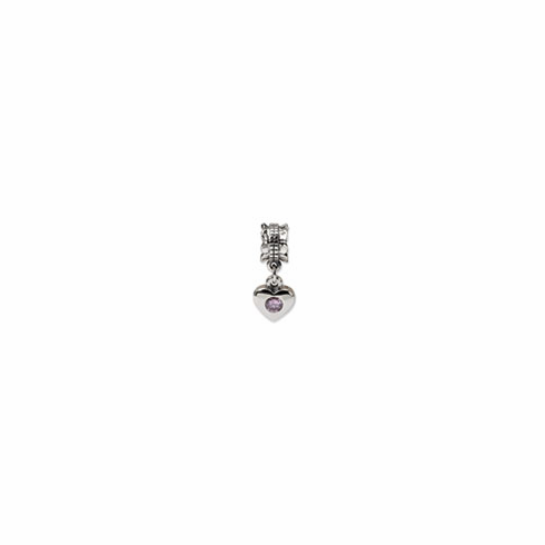 Sterling Silver Reflections Pink CZ Heart Dangle Bead