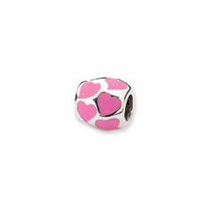 Sterling Silver Reflections Pink Enameled Hearts Bead