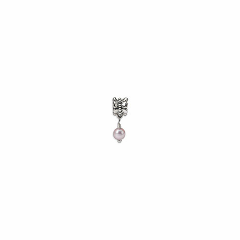 Sterling Silver Reflections Pink Freshwater Cultured Pearl Dangle Bead