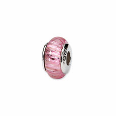 Sterling Silver Reflections Pink Hand-blown Glass Bead