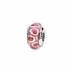 Sterling Silver Reflections Pink/Red Hand-blown Glass Bead