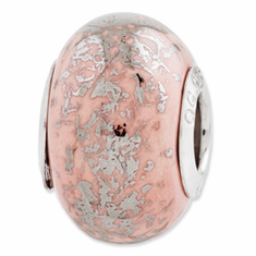 Sterling Silver Reflections Pink w/Platinum Foil Ceramic Bead