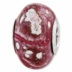 Sterling Silver Reflections Pink/White Ceramic Bead