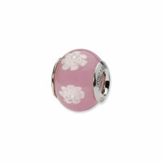 Sterling Silver Reflections Pink/White Italian Murano Bead