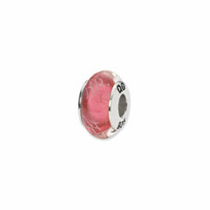 Sterling Silver Reflections Pink/White Scribbles Glass Bead