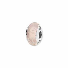Sterling Silver Reflections Pink/White Scribbles Hand-blown Glass Bead