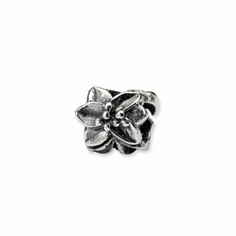 Sterling Silver Reflections Plumeria Floral Bead