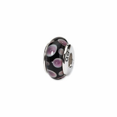 Sterling Silver Reflections Purple/Black Hand-blown Glass Bead