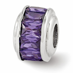Sterling Silver Reflections Purple CZ Bead