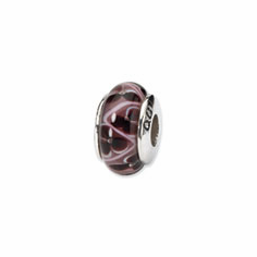 Sterling Silver Reflections Purple Floral Hand-blown Glass Bead