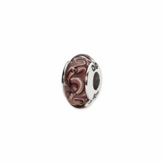 Sterling Silver Reflections Purple Swirl Hand-blown Glass Bead