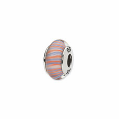 Sterling Silver Reflections Red/Blue Swirl Hand-blown Glass Bead