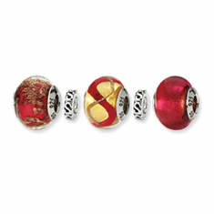 Sterling Silver Reflections Red Hot Boxed Bead Set