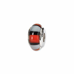 Sterling Silver Reflections Red/White Hand-blown Glass Bead