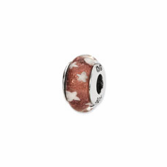 Sterling Silver Reflections Red/White Stars Hand-blown Glass Bead