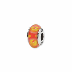 Sterling Silver Reflections Red/Yellow Hand-blown Glass Bead