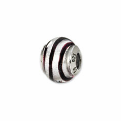 Sterling Silver Reflections Silver/Black Italian Murano Bead