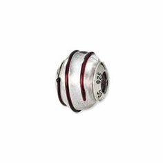 Sterling Silver Reflections Silver/Brown Italian Murano Bead