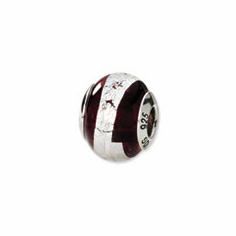 Sterling Silver Reflections Silver/Deep Red Italian Murano Bead