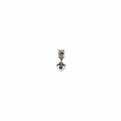 Sterling Silver Reflections Smokey CZ Heart Dangle Bead