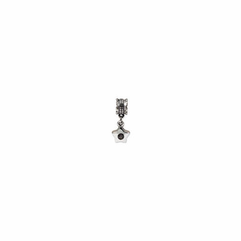 Sterling Silver Reflections Smokey CZ Star Dangle Bead