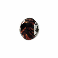 Sterling Silver Reflections Variegated Color Italian Murano Bead