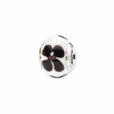 Sterling Silver Reflections White/Black Flower Italian Murano Bead