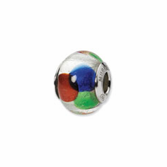 Sterling Silver Reflections White/Blue/Green/Red Italian Murano Bead