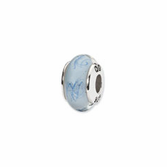 Sterling Silver Reflections White/Blue Scribble Hand-blown Glass Bead