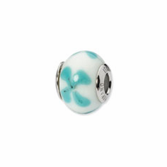 Sterling Silver Reflections White/Lt. Blue Italian Murano Bead