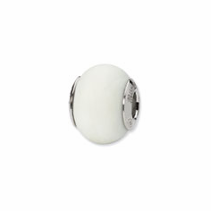 Sterling Silver Reflections White Matte Italian Murano Bead
