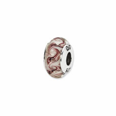 Sterling Silver Reflections White/Mauve Swirl Hand-blown Glass Bead