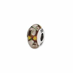 Sterling Silver Reflections White/Orange Floral Hand-blown Glass Bead