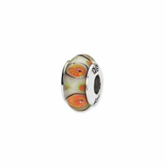 Sterling Silver Reflections White/Orange Hand-blown Glass Bead