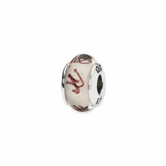 Sterling Silver Reflections White/Plum Scribbles Hand-blown Glass Bead