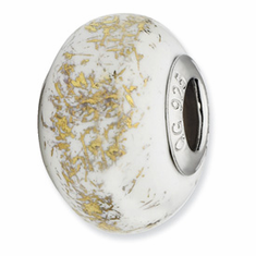 Sterling Silver Reflections White w/Gold Foil Ceramic Bead