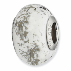 Sterling Silver Reflections White w/Platinum Foil Ceramic Bead