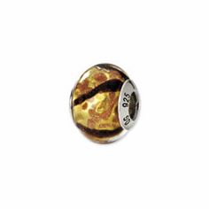 Sterling Silver Reflections Yellow/Black/Gold Italian Murano Bead
